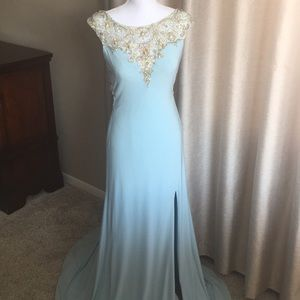 Baby blue full length evening gown